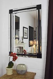 Black And Silver Bathroom Large Modern Black And Silver Bevelled Venetian Mirror 3ft3 X 2ft3