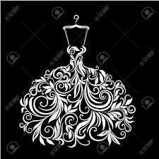 white dress with floral ornament royalty free cliparts vectors