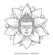 Buddha Head Lotus Isolated On White Stock Vector 563724166 Buddhist Coloring Pages