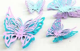 nail 3d design pink butterfly paper wall decor ideas 55