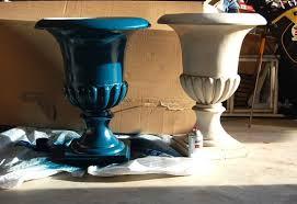spray painted urns