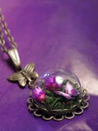 flowers with butterfly necklace images Glass dome mini terrarium with flowers moss and butterfly JPG