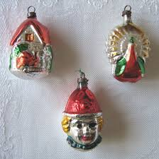 zz set of three vintage figural glass tree decorations