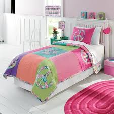 Girls Peace Sign Bedding by Purple Blue Green U0026 Pink Girls Peace Sign 2 Pc Twin Quilt U0026 Sham