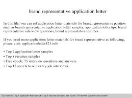 Sample Brand Ambassador Resume Brand Representative Application Letter