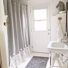 Gray Ruffle Shower Curtain Grey Ruffle Shower Curtain Handmade Shabby Chic Bathroom Curtain