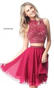 a line sherri hill ruby two piece beading homecoming dress