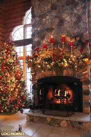 decorating stone fireplace christmas mantel log cabin ideas