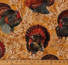 cotton turkey harvest thanksgiving bird cotton fabric print by the