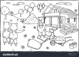 coloring page three little pigs stock vector 364707947 shutterstock