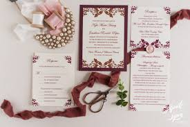 wedding invitations burgundy kyle jonathan s bronze metallic and burgundy wedding invitation
