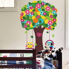 Owl Wall Sticker Heart Shape Button Flowers Tree Wall Decal Sticker Kids Room