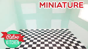Retro Flooring Walls And Checkered Floors Retro Kitchen Miniature Room Box 1 12