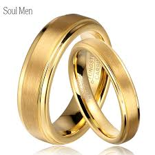 gold bands rings images Soul men 1 pair gold color tungsten carbide wedding band rings set jpg