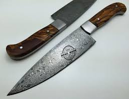 regular damascus kitchen knife custom handmade damascus steel4 kitchen chefs knife with rose wood handle leather sheaths 1569