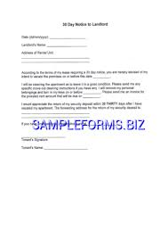30 day notice to landlord pdf free u2014 1 pages