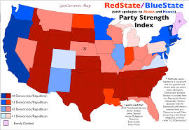 2012 Presidential Election Map by U S Political Party Strength Index Map Geocurrents