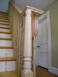 wood stairs and rails and iron balusters install wood handrail