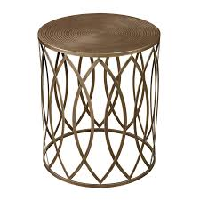 vintage gold side table this antique gold finish round metal accent table features an