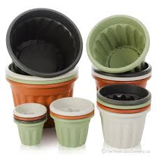 buy large plastic flower plant pot vista range green black terracotta