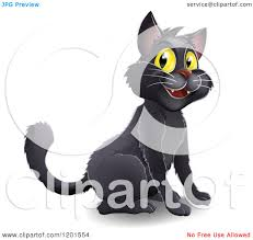 cartoon of a happy black halloween cat with yellow eyes royalty