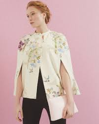 spring meadow wool and cashmere blend cape ivory jackets