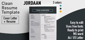 Clean Resume Template Jordaan Clean Resume Template
