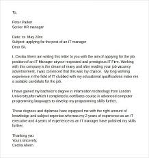 information technology cover letter examples information