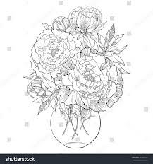Bouquet Five Ornate Peony Flower Leaves Stock Vector 367404416