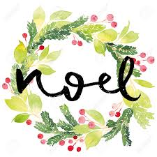 christmas card watercolor painting hand lettering wreath for