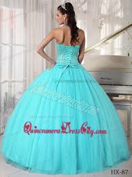15 quinceanera dresses aqua blue gown sweetheart floor length tulle beading