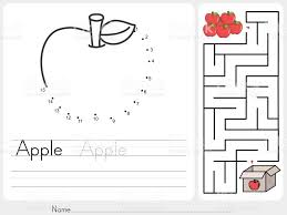 connect dots and pick apple box maze game worksheet for education