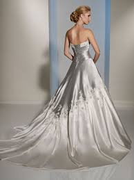silver and white draped bodice wedding dress watch your back