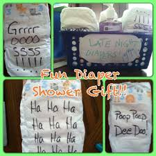 great baby shower gift idea write funny sayings on the diapers