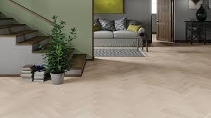 Oak White Herringbone Engineered Parquet - Herringbone engineered wood flooring