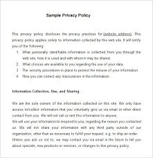 8 Privacy Policy Templates – Free Samples Examples & Formats