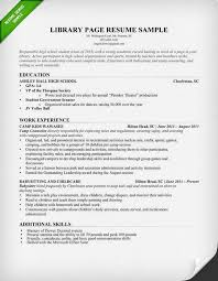 Volunteer Work On Resume Example by Library Page Resume Sample And Resume Building Tips