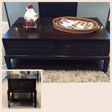 American Signature Coffee Table Plantation Cove Black Glass Top Cocktail Table With Baskets With