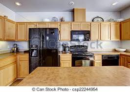 light brown kitchen cabinets with black appliances black appliances images search images on everypixel