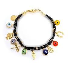 eye charm bracelet images Multi color 925 silver leather evil eye charm bracelet 7in jpg