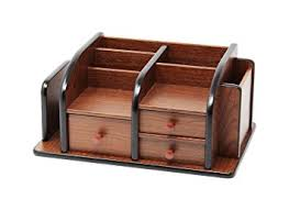Desk Organizer Drawers Cherry Brown Office Wooden Desk Organizer With 3