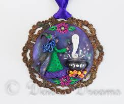 sculpted polymer clay witch pendant witch ornament