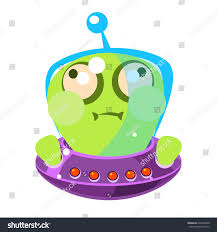 inflated green alien flying saucer cute stock vector 626958440