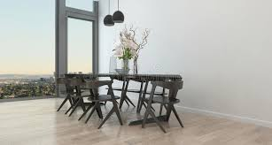 high rise kitchen table modern table and chairs in sparse dining room stock illustration