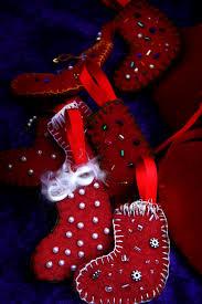 beaded felt stocking christmas tree ornaments for waldorf