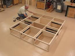 Free Plans To Build A Platform Bed by Full Size Bed Frame With Storage Plans Woodworking Pinterest