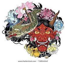 japanese demon mask lotuschrysanthemumpeony cherry flower stock