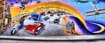 u s murals two encircle photos mother road mural with 1960 corvette convertible in albuquerque new mexico