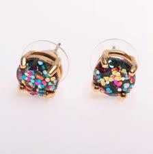glitter stud earrings kate spade 12k glitter studs earrings rainbow multi color