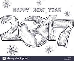 happy new year 2017 sketch globe outline drawing planet earth